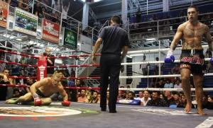Pane Haraki fights muay thai at bangla boxing stadium
