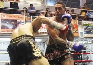Pane Haraki fights muay Thai in Phuket Thailand.